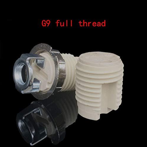 Kamas G9 lamp base Pottery and Porcelain body steel hanger Ceramic G9 lamp holder m10 bracket lamp socket Full thread and smooth - (Color: G9 full thread, Base Type: G9)