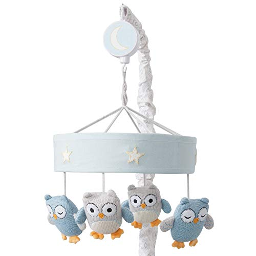 Lambs & Ivy Happi by Dena Night Owl Blue/Gray Knit Musical Baby Crib Mobile