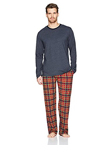 The Slumber Project Men's Long Sleeve Tee with Cuff and Sleep Pant Navy and Red Plaid Medium