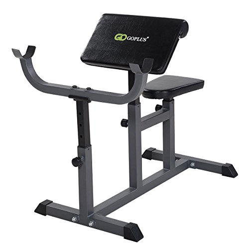 MyEasyShopping Adjustable Commercial Preacher Arm Curl Weight Bench Adjustable Commercial Preacher Arm Curl Weight Bench Dumbbell Biceps Seat by MyEasyShopping