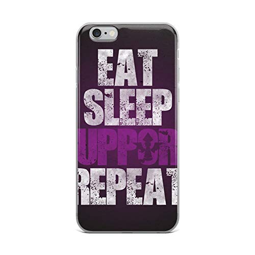 iPhone 6 Plus/6s Plus Case Anti-Scratch Gamer Video Game Transparent Cases Cover Eat Sleep Support Repeat Gaming Computer Crystal Clear