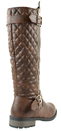 Brown 21 Mango Link Accent Boots Forever Quilted Zipper Riding Women's 15 pzHfxtwxq