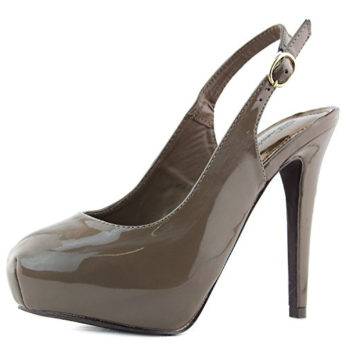 Breckelles Womens Vanesa-11 Sling Back Pump Taupe Patent Leather