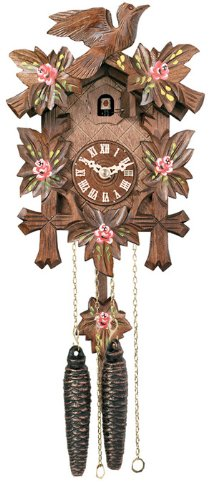 River City Clocks 11-09P One Day Hand-Carved Cuckoo Clock with Hand-Painted Flowers, Five Maple Leaves And One Bird, 9-Inch Tall