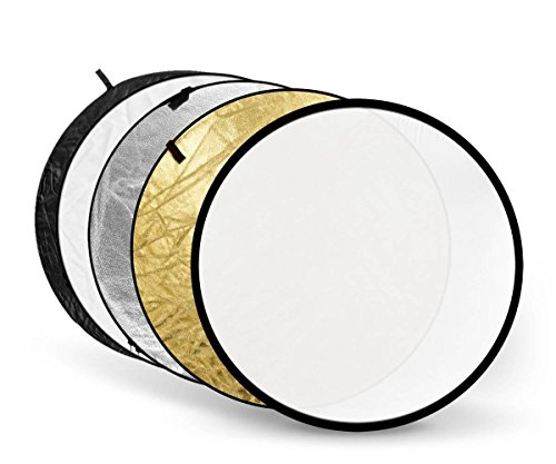Godox 43-Inch (110cm) 5 in 1 Round Portable Collapsible Multi Disc Light Reflector for Studio and Photography - Translucent, Silver, Gold, White and Black