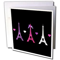 3dRose Greeting Cards, Girly Eiffel Tower, Hot Pink Purple Black Paris Towers Love Hearts Stylish French Modern France, Set of 6 (gc_113151_1)
