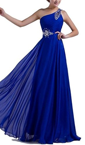 Bridesmaid Shoulder emmani Geld Damen Ball One Kleider lang Chiffon Saphirblau g6qTnwa0q