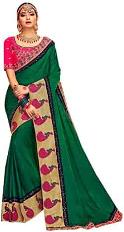 892c333bc4 Green Indian Designer Satin Silk Heavy Border work Sari for Women Saree  with Blouse piece Festive