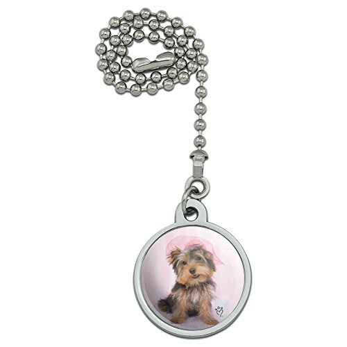 GRAPHICS & MORE Yorkie Yorkshire Terrier Dog Pink Hat Ceiling Fan and Light Pull Chain