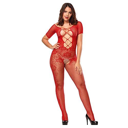 - BYHBU Womens Sexy Lingerie Lace Body Stockings Dress Sleepwear Babydoll Nightwear Red