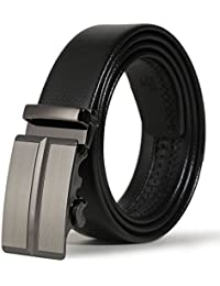 Men's Dress Belt, Microfiber Leather Automatic Buckle Ratchet Belt