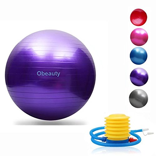 Exercise Ball (45-95cm) with Quick Foot Pump, Professional Grade Anti Burst & Slip Resistant Balance Ball for Yoga, Balance, Workout, Fitness, Use for a Work Chair (5 Colors)