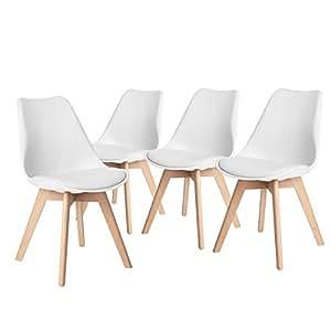 Fanilife juego de 4 sillas de comedor con dise o de for Sillas comedor con reposabrazos