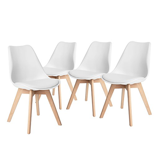 H.JWeDoo Set of 4 Dining Chairs Modern Kitchen Chair with Eco-leather Padded Cushion Solid Wood Legs Leisure Chairs for Dining Room Bedroom,White (Set White Modern Leather)