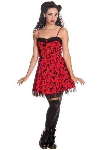 Hell Bunny - Mini Robe Femme Liv - Rouge - Rouge, XS FR 36