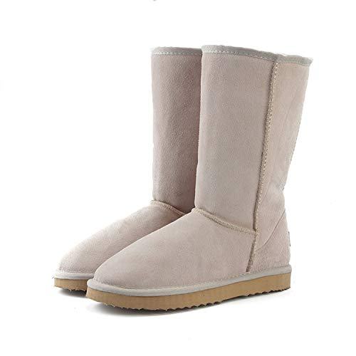 Genuine Leather Fur Snow Boots Women Australia Winter Boots Warm Boots Woman,Sand,12