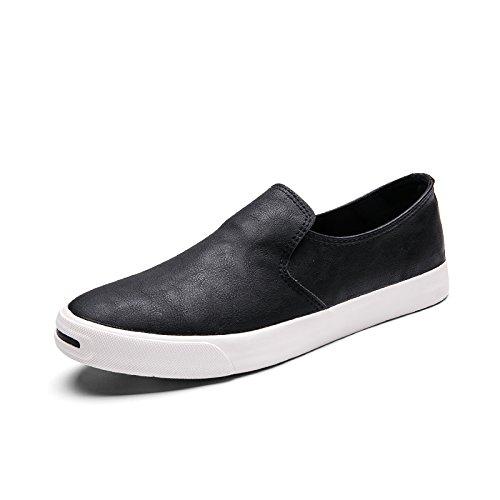 YIXINY Deporte Zapato Moda Zapatos De Los Hombres De PU Adolescente Zapatos Perezosos Zapatos Planos Ocio Cuatro Colores ( Color : Negro , Tamaño : EU39/UK6/CN39 ) EU39/UK6/CN39|Negro