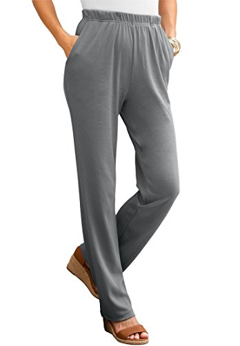 Roamans Women's Plus Size Tall Classic Soft Knit Pants Slate,1X (Knit On Pants Pull)