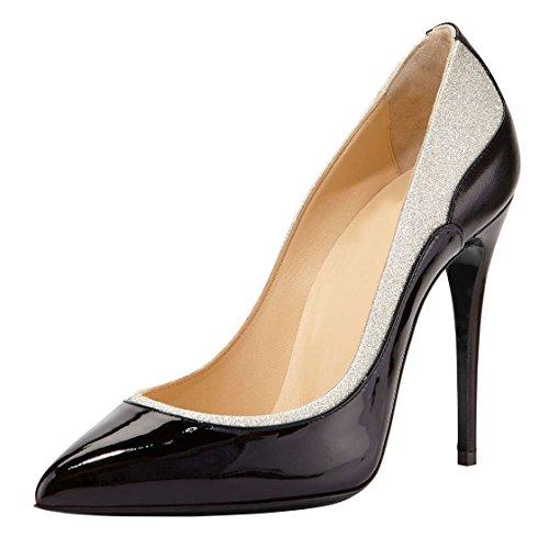 DYF Zapatos de mujer de tacón alto fino afilado boca superficial de gran tamaño en color Bump Black
