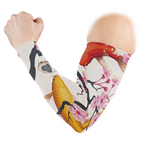 - UV Sun Protection Sleeves Koi And Plum Blossoms Cuffs Cover for Men Women Sports Running Golf Cycling Driving Arm Protection 1 Pair