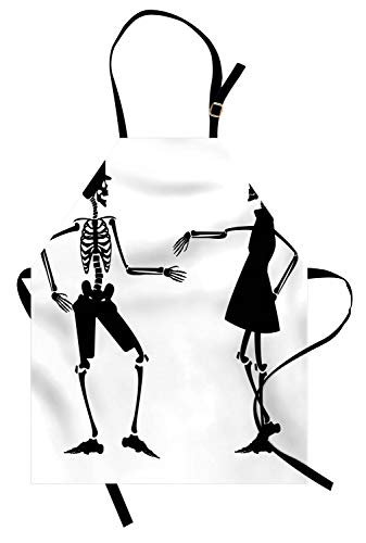 Ambesonne Skeleton Apron, Humorous Illustration of Dancing Halloween Couple Figures in Clothes, Unisex Kitchen Bib Apron with Adjustable Neck for Cooking Baking Gardening, Charcoal Grey and -