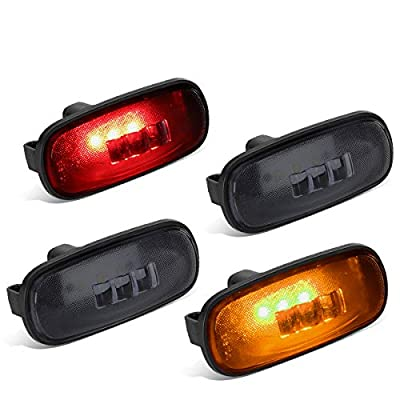 DNA Motoring FENDL-DRAM02-SM 4Pcs Smoked Lens Dually Fender LED Side Marker Light Lamps: Automotive