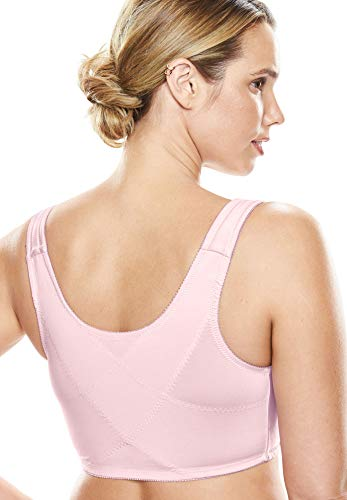 Comfort Choice Women's Plus Size Lace Wireless Posture Bra - Shell Pink, 52 DDD