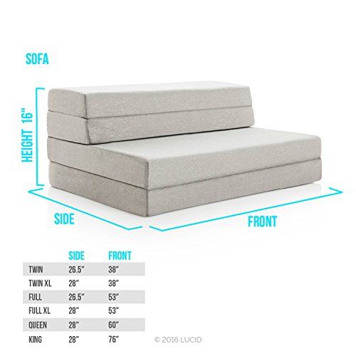 LUCID 4 Inch Folding Mattress and Sofa with Removable Indoor / Outdoor Fabric Cover - Queen Size by LUCID (Image #3)