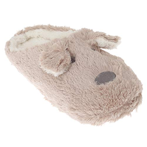 Dog Beige Cream Ladies Slippers Faux Womens Fur SlumberzzZ wTp8IY