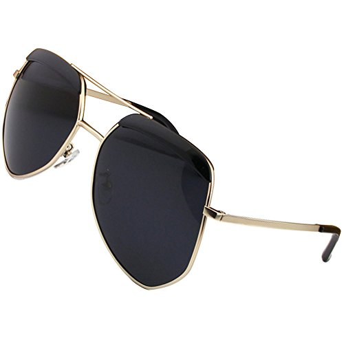 Fashion Big Frame Polarized Sunglasses Women Men UV400 (Gold, Black) (Caviar Sunglasses Model)