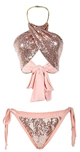Biwinky Women's 2 Piece Sequin Triangle Bikini Set Underwear Bra Set US 8