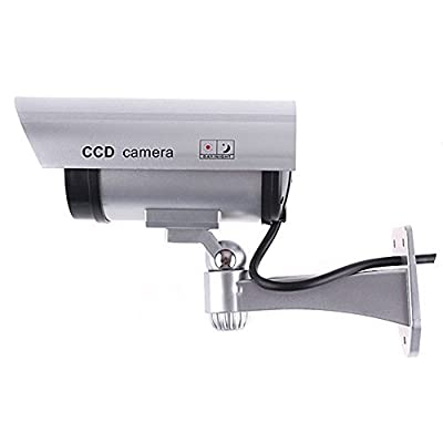 Outdoor Indoor Fake CCTV Security Camera Blinking LED Night CAM Silver Color: Silver, Model:
