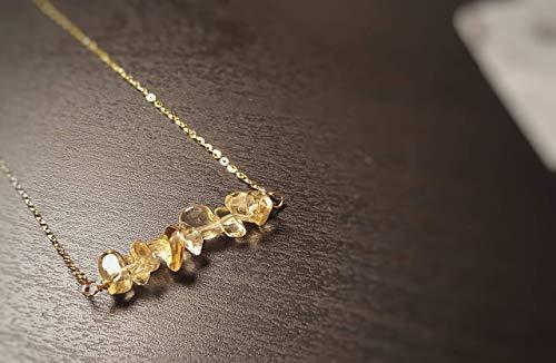 Keira Jewelry Gold Citrine Birthstone Necklace, Citrine Necklace, 14k Gold Filled, Dainty Necklace,November Birthstone Necklace, Beaded Bar Necklace ... (Necklace 14k Citrine)