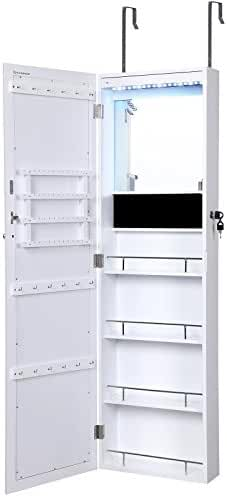 SONGMICS Lockable Jewelry Cabinet Wall Door Mounted Makeup Armoire Organizer with Mirror LED Lights, White