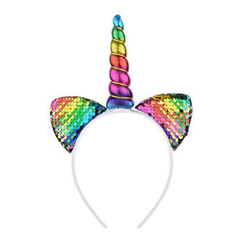 Love Sweety Unicorn Flower Crown Headband Animal Ear Headband (Cat Rainbow)]()