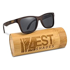 Bamboo Wood Sunglasses -Polarized handmade wooden shades in a wayfarer that Floats