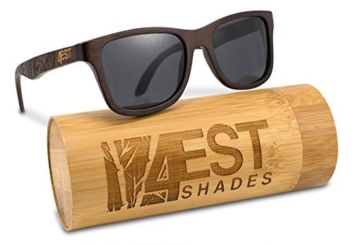 Bamboo Wood Sunglasses -Polarized handmade wooden shades in a wayfarer that Floats! Brown