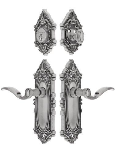 Grandeur 818157 Grande Victorian Combo Pack Entry Door Set, Keyed Alike, Keyed Alike with Bellagio Levers 2 3/4