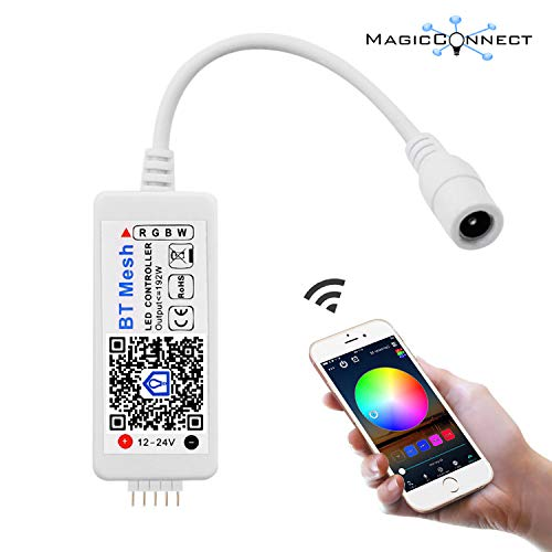 MagicConnect Bluetooth Mesh RGBW LED Strip Light Controller, No Hub Required, Works with iOS Android Smartphone (Hub Required for Alexa and Google Home, Hub Sold Separately)
