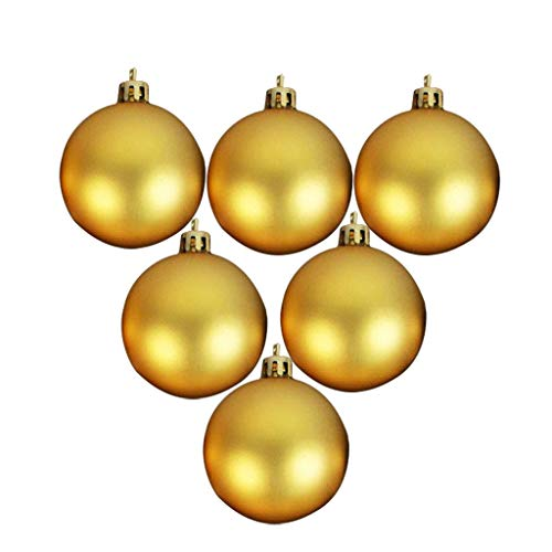 MiMiey Christmas-Decorations 6er Set Weihnachtskugeln Kunststoff 6cm Baumschmuck Farblich Sortiert Glänzend Matt Weihnachten Deko Anhänger (Ø Golden-A)