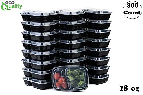EcoQuality Meal Prep Containers, [300Pack][28oz] 2 Compartment with Lids, Reusable Bento Box, Food Storage Containers   BPA Free   Stackable   Lunch Boxes, Microwave/Dishwasher/Freezer Safe,21 day fix