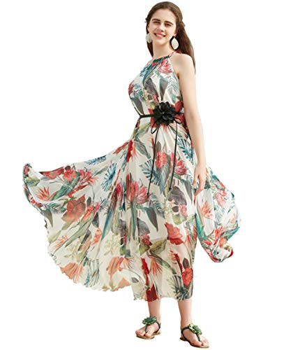 (Medeshe Women's Chiffon Floral Holiday Beach Bridesmaid Maxi Dress Sundress (Small Petite, White Tropical Floral))