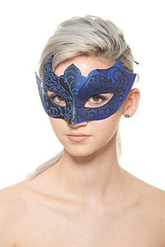 Juno Venetian Masquerade Mask (Black/Blue; Unisex One (Blue Masquerade Dress)
