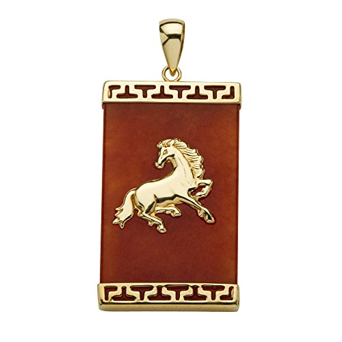 Genuine Red Jade 14k Yellow Gold Charm Horse Pendant ()