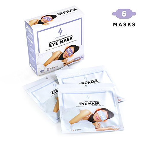 Juve Naturals Premium Self-Heating Steam Eye Mask, 6 Masks, Natural Sleep Aid, Anti-Dark Circles, Fine Lines, Crow's Feet, Jet Lag, Insomnia (Lavender Aromatherapy)