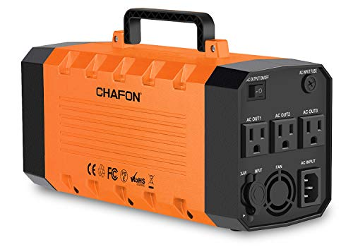 (CHAFON 346WH Portable Power Station Generator,UPS Lithium Battery Backup,Pure Sinewave 110V/500W Triple AC Outlet 12V DC,USB Output for CPAP Camping Travel Emergency-Orange)