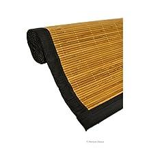 "28"" X 75"" Natural Brown Slats with Black Trim Bamboo Carpet Area Rug Mat Runner"