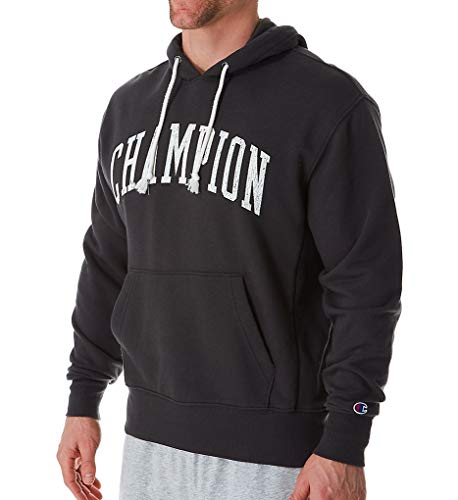 - Champion Men's Heritage French Terry Pullover Hoodie, Arch Logo, Grey Scarf - Size L