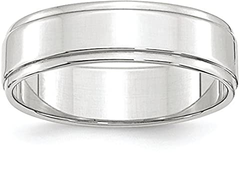 14k White Gold 6mm Plain Flat Classic Wedding Band with Step Down Edge - Size 7 - 14k Gold Classic Wedding Band