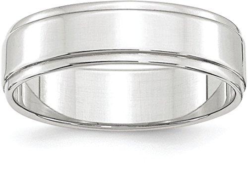 14k White Gold 6mm Plain Flat Classic Wedding Band with Step Down Edge - Size (14k Gold Flat Wedding Band)